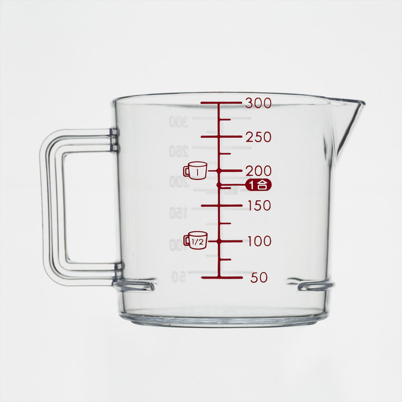 日本原产inomata厨房计量杯带刻度烘培面粉量杯奶茶量杯300ML 透明