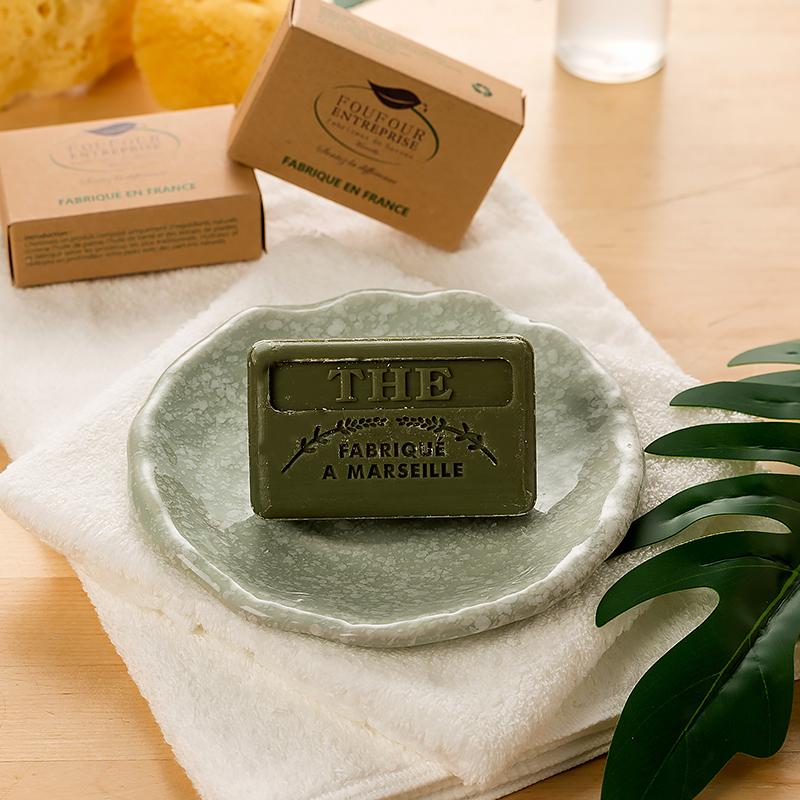法国原产FOUFOUR精油手工皂天然马赛皂洁面皂女香皂洗脸皂 绿茶