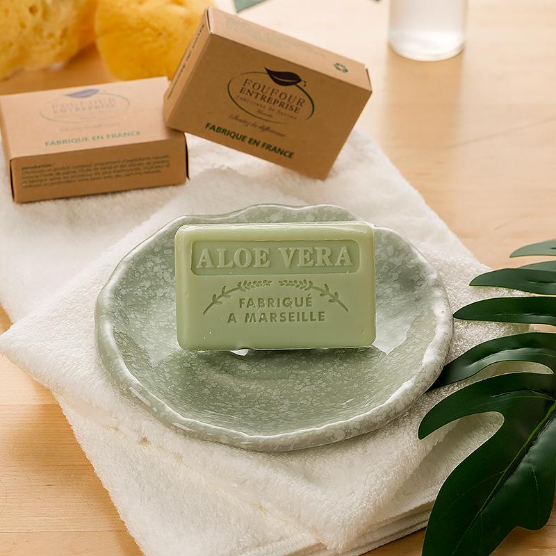 法国原产FOUFOUR植物精油手工皂马赛皂沐浴皂香皂天然芦荟皂 芦荟