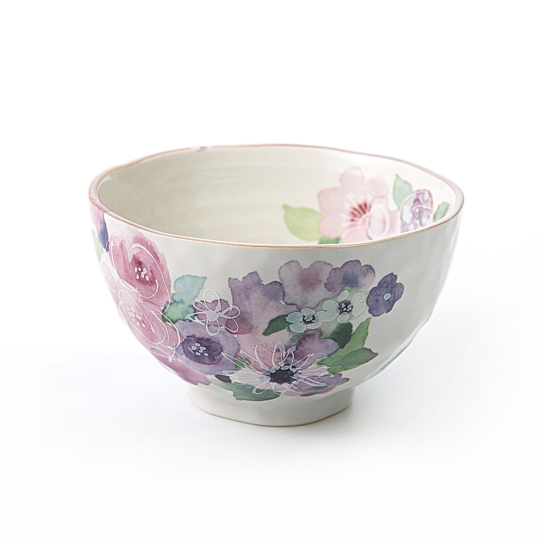 日本原产ceramic 蓝美浓烧米饭碗陶瓷碗餐具花工房1个装 彩色