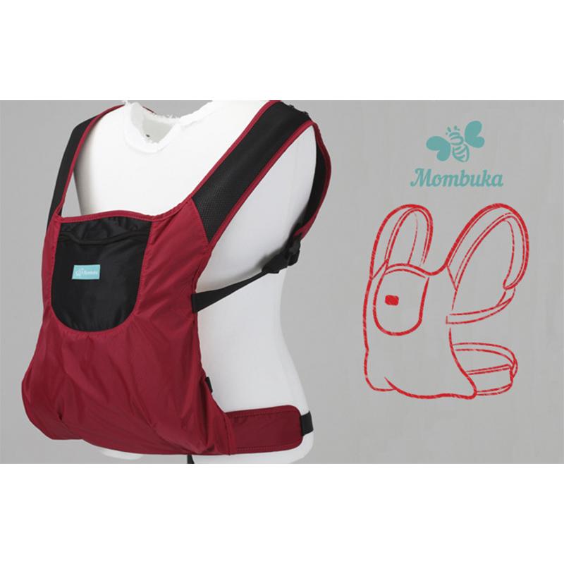 韩国原产MOMBUKA防水背婴带婴儿背带抱凳腰凳 酒红