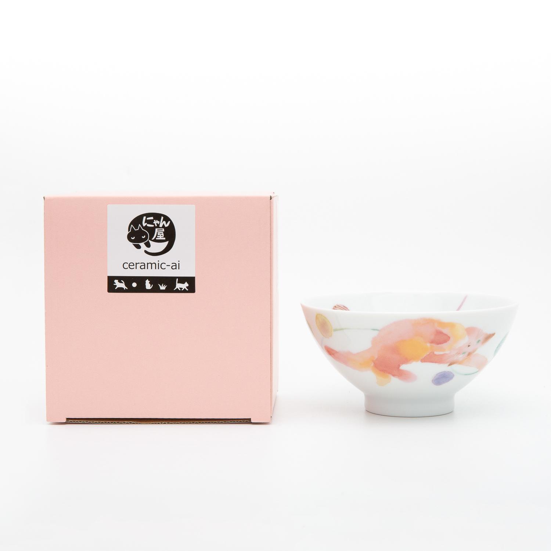 日本ceramic AI 茸茸猫饭系列碗 粉红