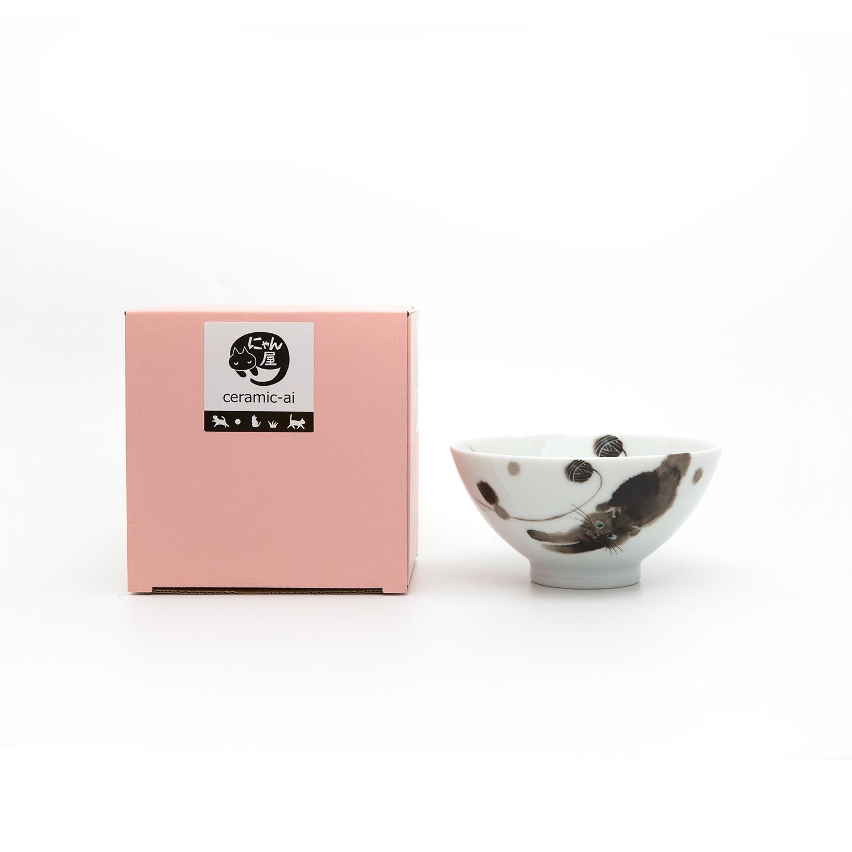日本ceramic AI 茸茸猫饭系列碗 黑色