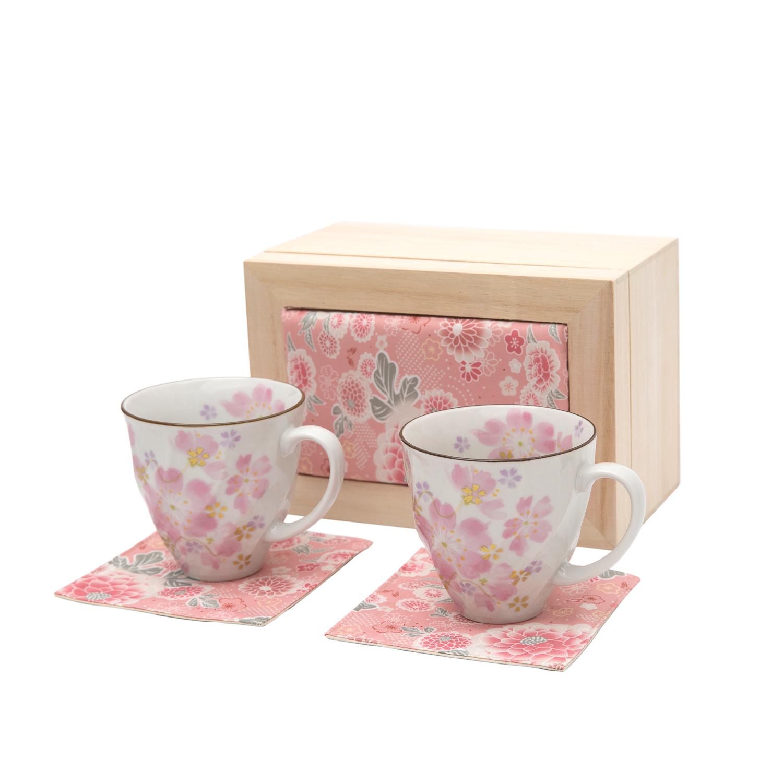 日本 ceramic蓝 樱花系列 马克杯两件套 粉色