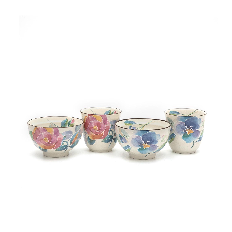 日本原产ceramic AI花语系列陶瓷茶碗套装 彩色