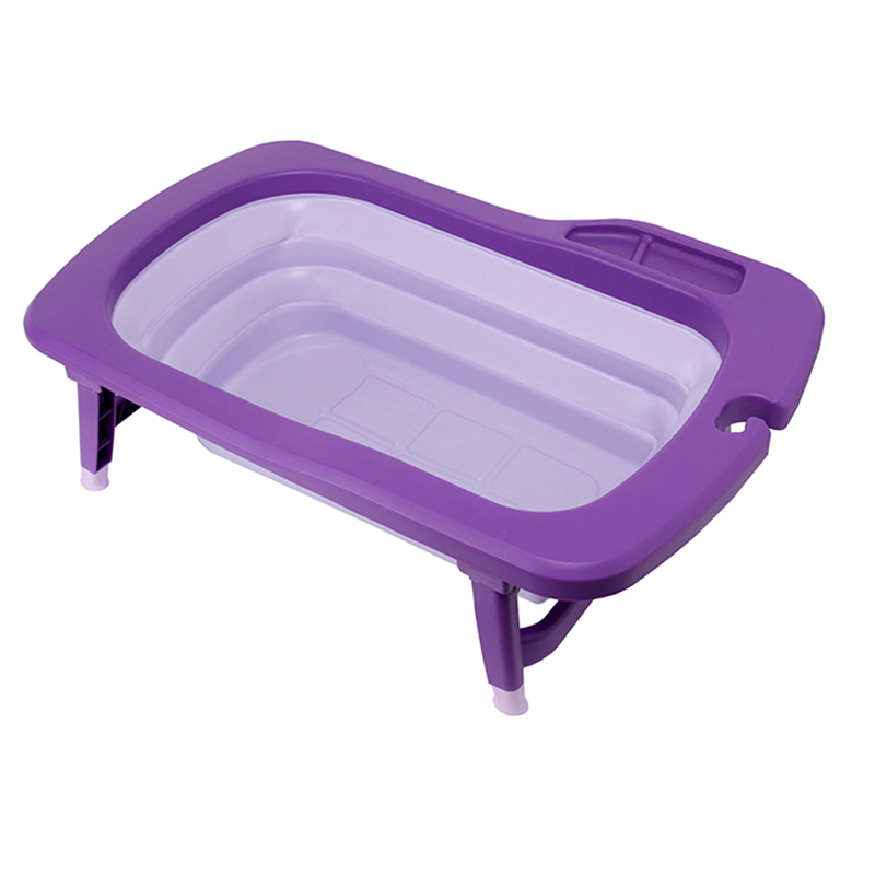 韩国原产Mathos Loreley婴儿浴盆澡盆便携感温可折叠浴盆 紫色