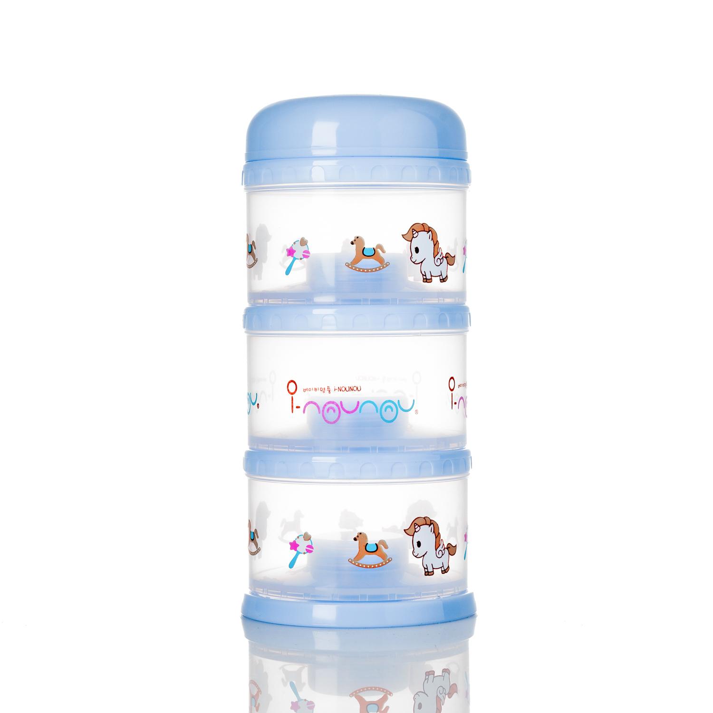 韩国原产i-Nounou三层奶粉储存盒 蓝色