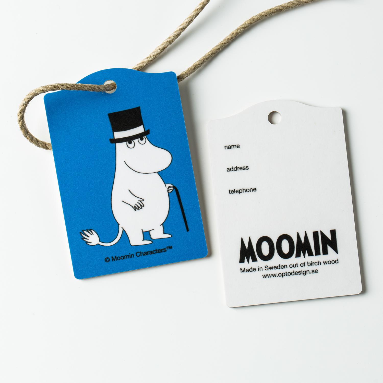瑞典原产Optodesign 姆明系列桦木行李牌旅行箱挂牌2只装 蓝色