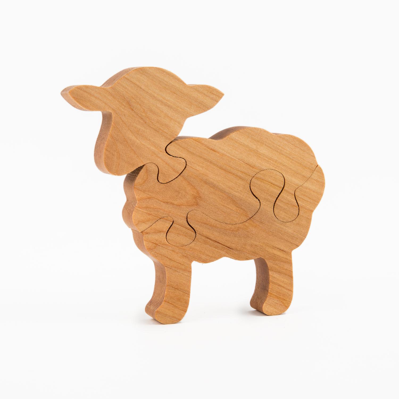 瑞典原产Skandinavisk Hemslojd赤杨儿童木积木拼图 小羊 卡其色