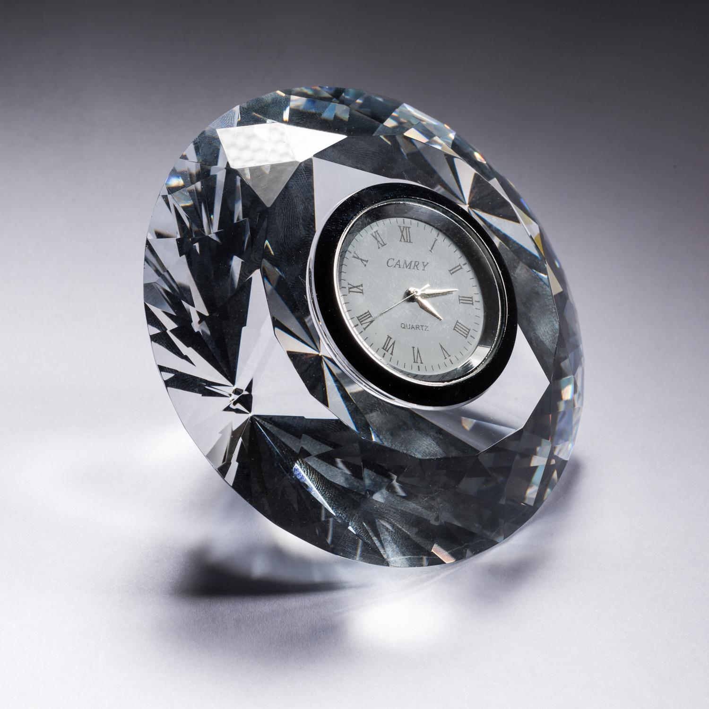 意大利原产Ranoldi水晶摆件钻石造型时钟客厅静音钟表 透明