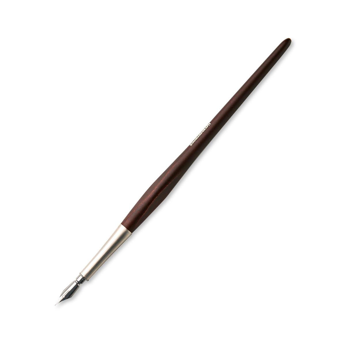 德国原产STANDARDGRAPH 木质笔杆 金属笔尖蘸墨钢笔 深棕色
