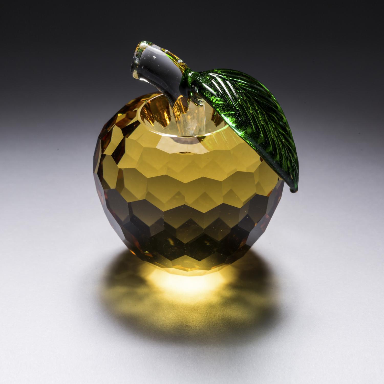 意大利原产Ranoldi高纯度水晶摆件苹果生日情人节礼物 黄色