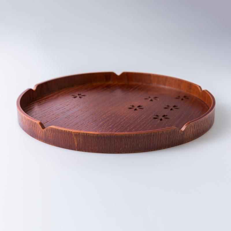 日本原产wakacho若兆木制漆器圆托盘樱花茶托咖啡盘 30cm 褐色