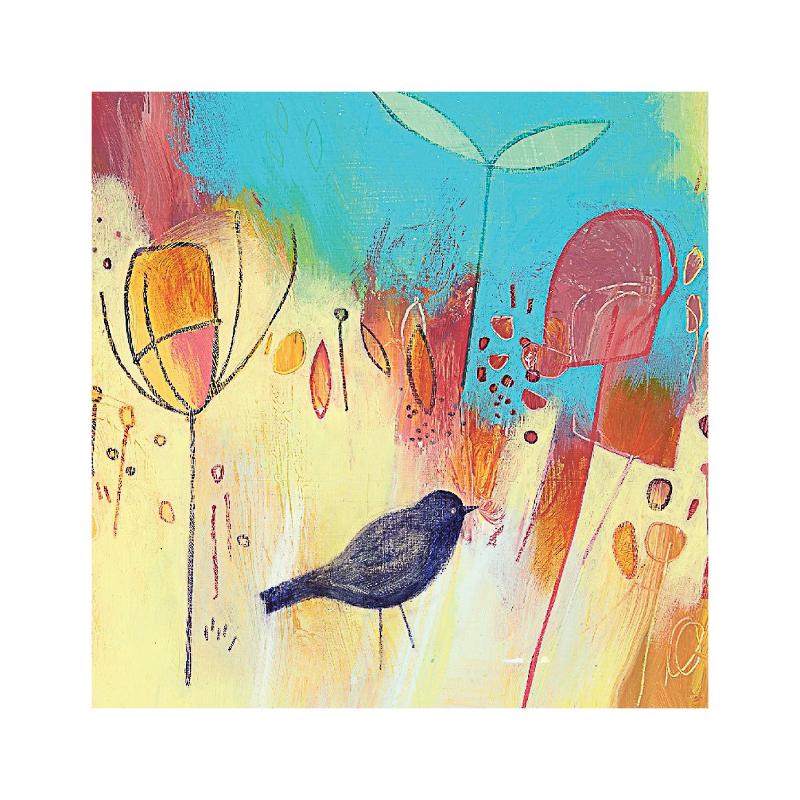 英国原产iona画眉鸟水墨画图节日祝福礼物卡片贺卡明信片 蓝色