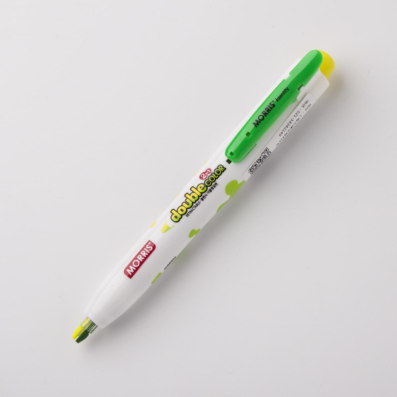 韩国原产MORRIS双色荧光笔彩色笔 绿色+黄色