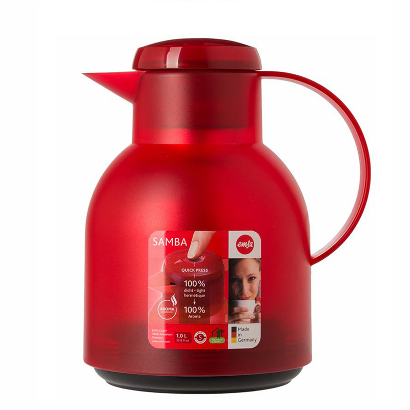 德国原产EMSA保温壶保暖壶家用热水壶桑巴系列1L 深红