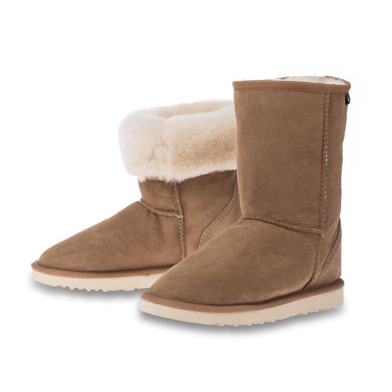 澳大利亚原产CHIC?EMPIRE羊皮雪地靴中筒靴 栗色 6码