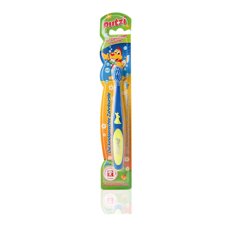 德国原产putzi璞慈软毛儿童牙刷乳牙刷宝宝训练牙刷 蓝色