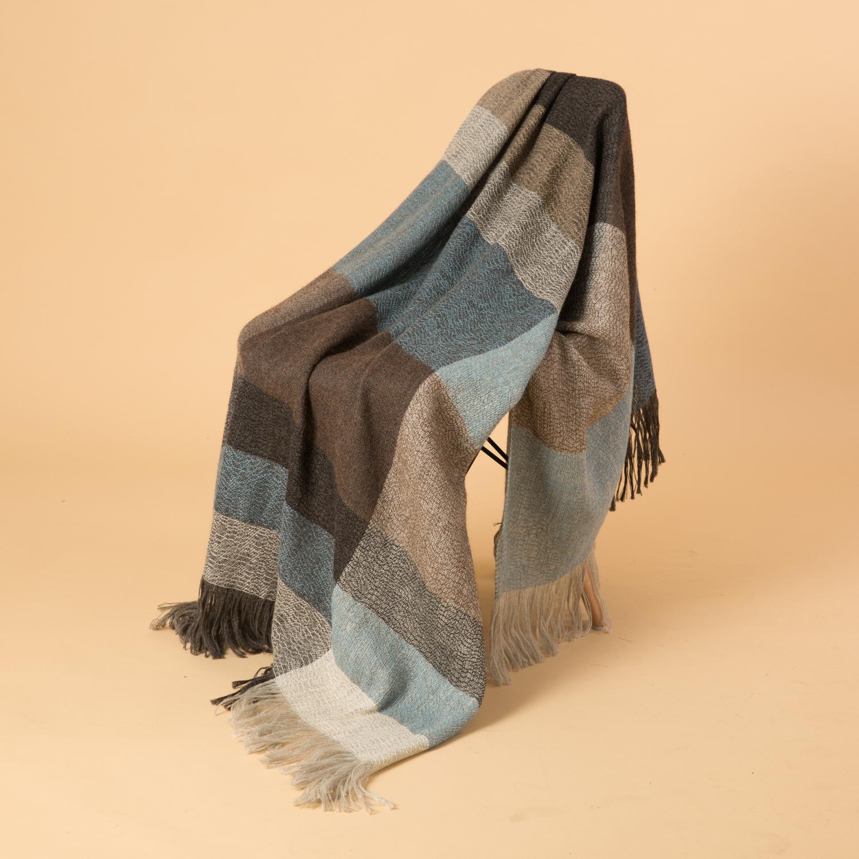 新西兰Stansborough指环王系列灰羊毛针织披肩盖毯 灰蓝