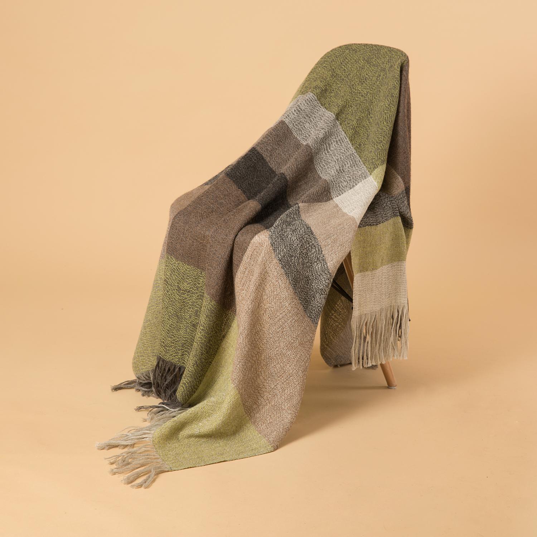 新西兰Stansborough指环王系列灰羊毛针织披肩盖毯 绿色