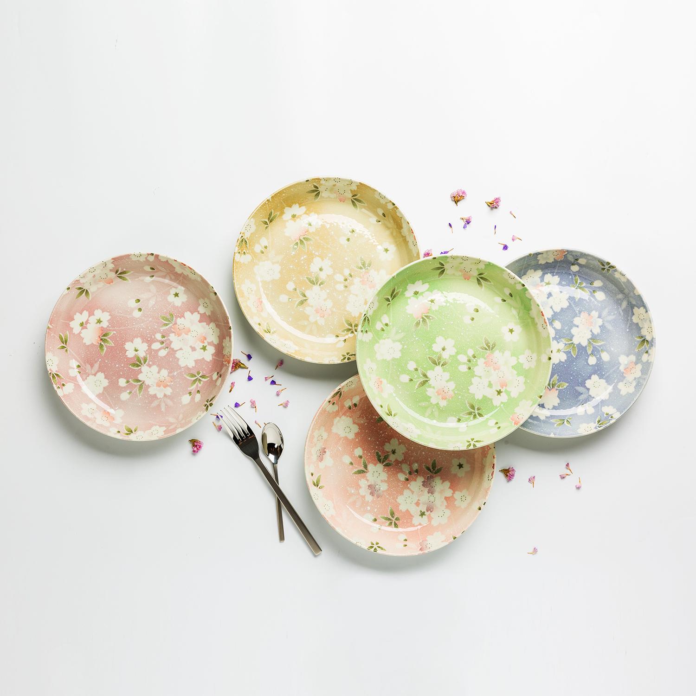 日本原产AITO宇野千代樱吹雪美浓烧陶瓷盘竹笼礼盒5件套 花色