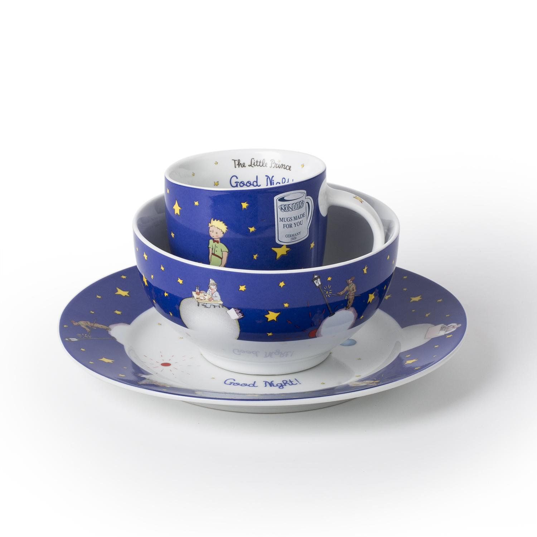 德国原产KOENITZ酷尼子英语版小王子杯碟碗餐具三件套 宝蓝