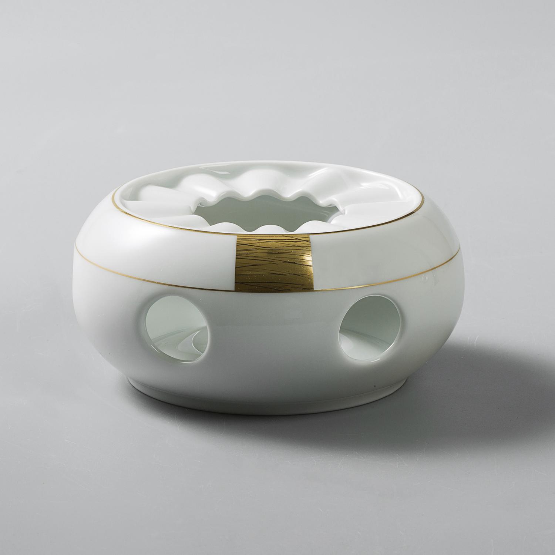 德国原产Seltmann Weiden白底镀金陶瓷茶壶座水壶座