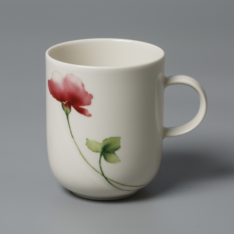 德国原产Seltmann Weiden陶瓷茶杯水杯绿叶红花系列250ml