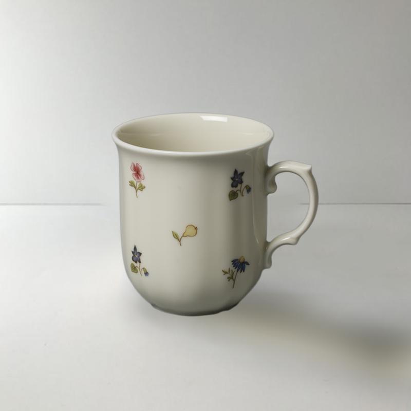 德国原产Seltmann Weiden陶瓷茶杯水杯咖啡杯彩色小花270ml 白色