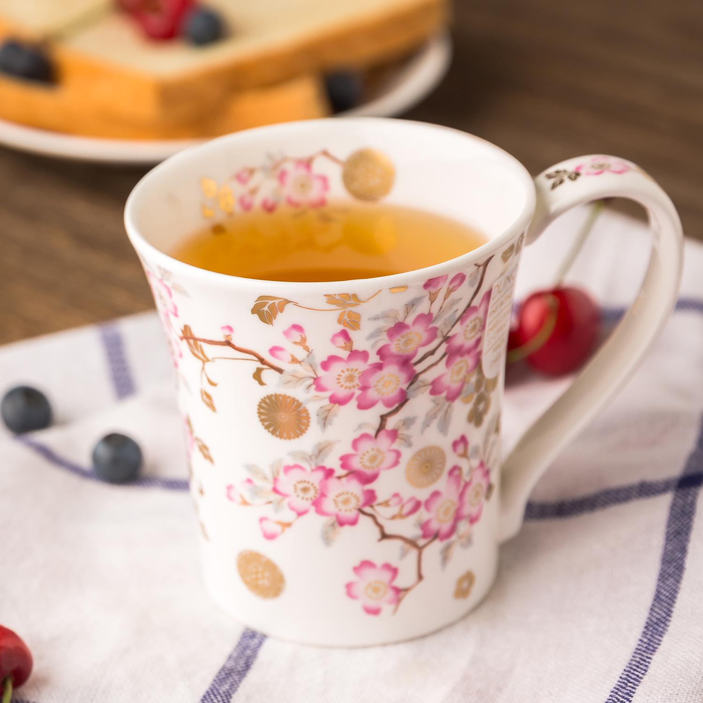 英国原产DUNOON丹侬黄金饰面骨瓷茶杯水杯马克杯樱花 白色