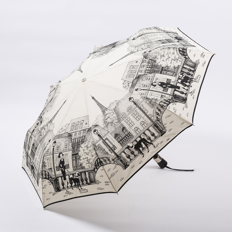 法国源产Guy de Jean女士折叠伞遮阳伞 公园漫步 黑白