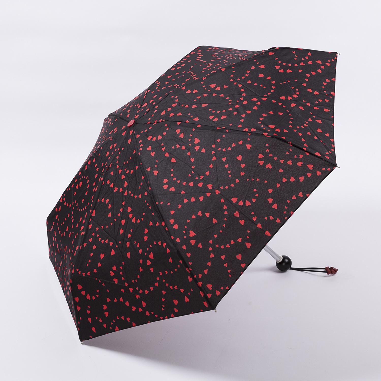 法国源产Guy de Jean女士折叠伞遮阳伞 爱心恋 黑色