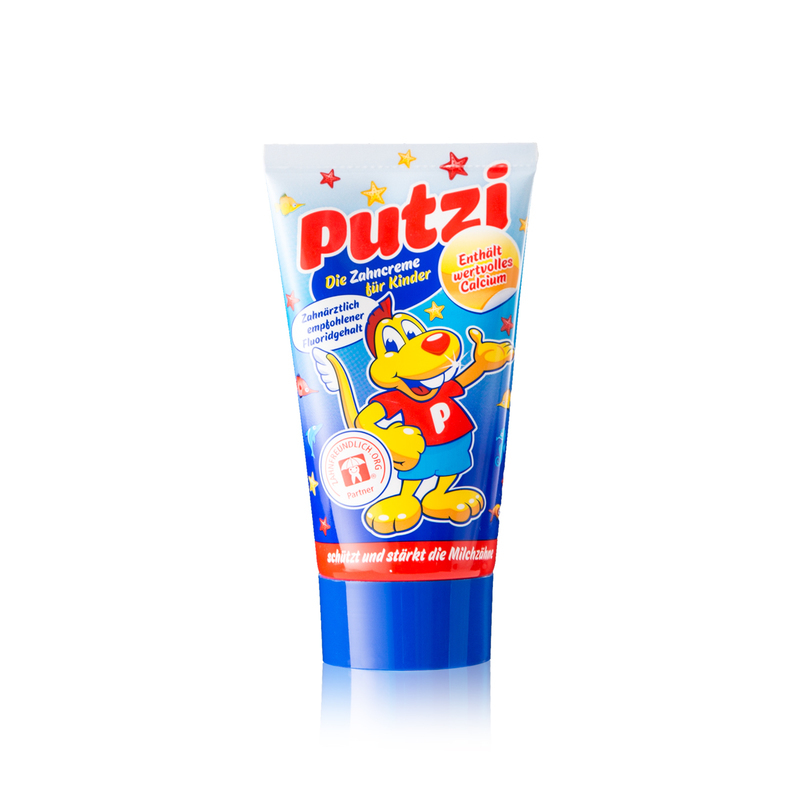 德国原产Putzi璞慈儿童防蛀牙加钙牙膏50ml 蓝色
