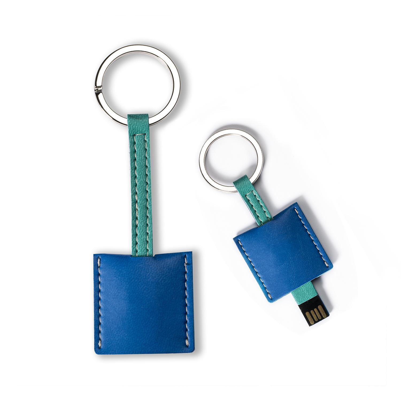 意大利原产Reflexa维耶勒法兰绒钥匙扣/圈+USB内存U盘4GB 蓝色