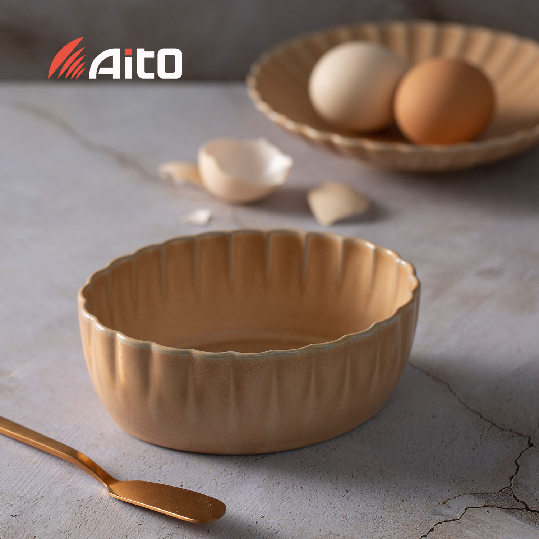 日本原产AITO HANA濑户烧花之瓣餐碗 花小钵 麦茶色