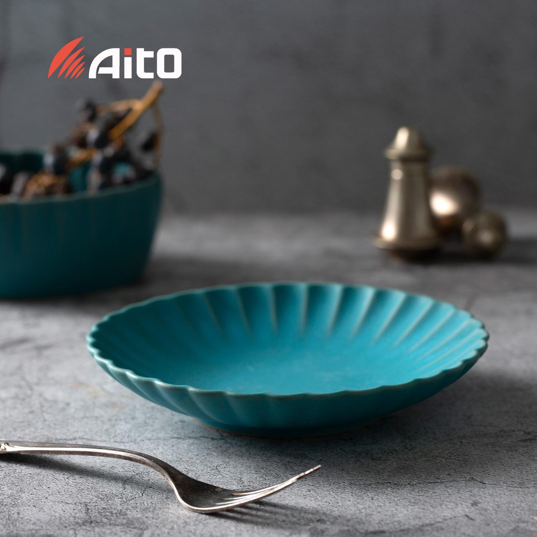 日本原产AITO HANA花之瓣餐盘 花皿盘M 湖蓝色