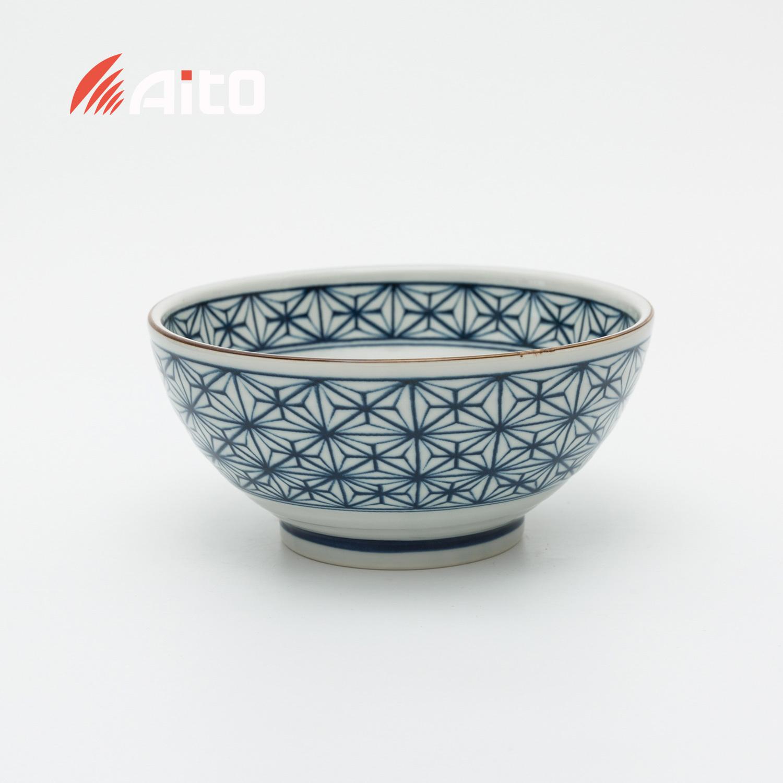 日本原产AITO Kosome Komon美浓烧 古染小纹大碗 蓝色