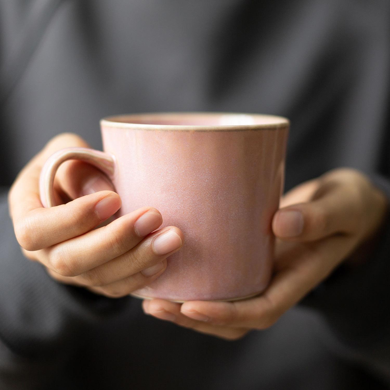 日本原产AITO Natural color美浓烧陶瓷摩登色马克杯 粉色
