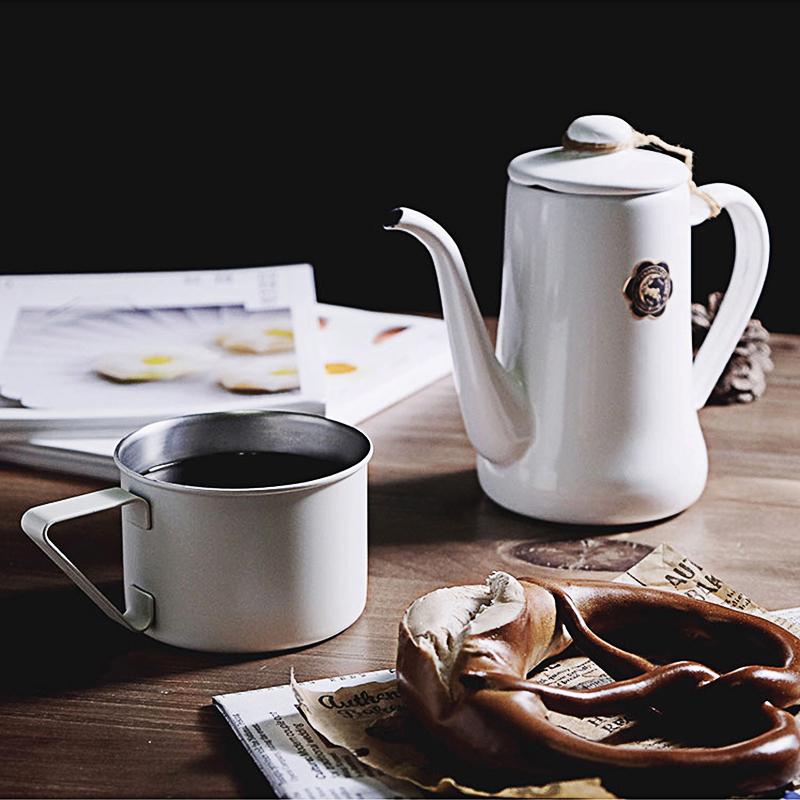 日本elfin高桑金属不锈钢创意复古马克杯子咖啡杯水杯啤酒杯 白色