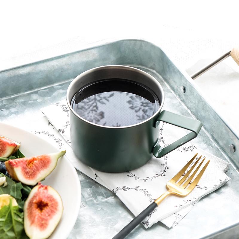 日本elfin高桑金属不锈钢创意复古马克杯子咖啡杯水杯啤酒杯 绿色
