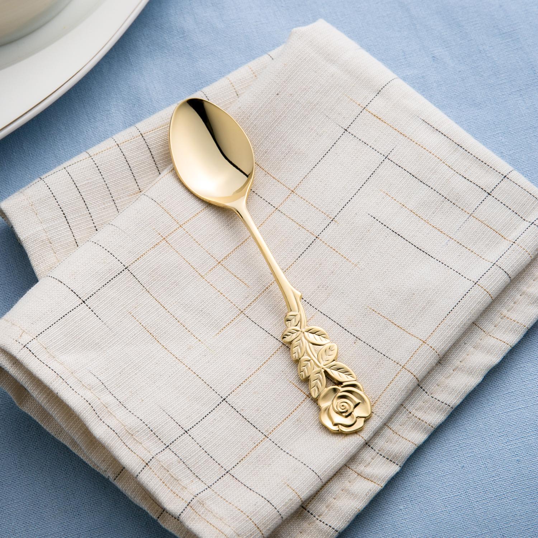 日本原产elfin 高桑金属不锈钢镀金西餐勺 金黄