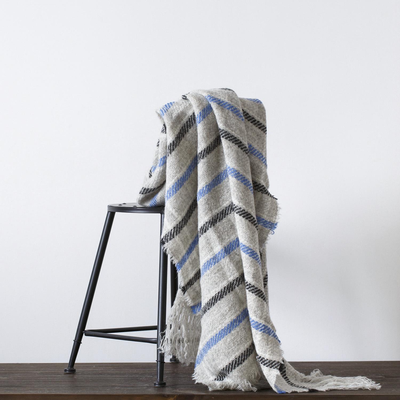 新西兰原产Stansborough指环王拉绒羊毛灰羊毛针织盖毯 蓝条