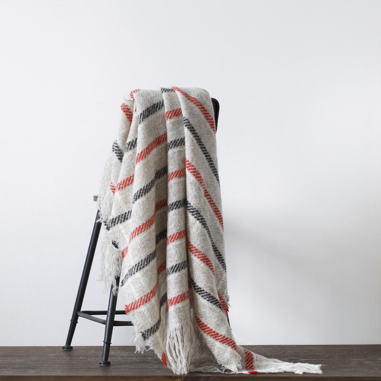 新西兰原产Stansborough指环王拉绒羊毛灰羊毛针织盖毯 黑红花纹