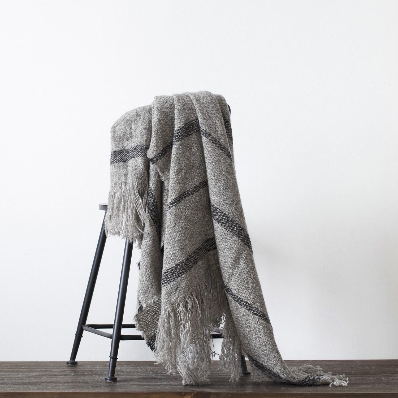 新西兰原产Stansborough指环王拉绒羊毛灰羊毛针织盖毯 深灰