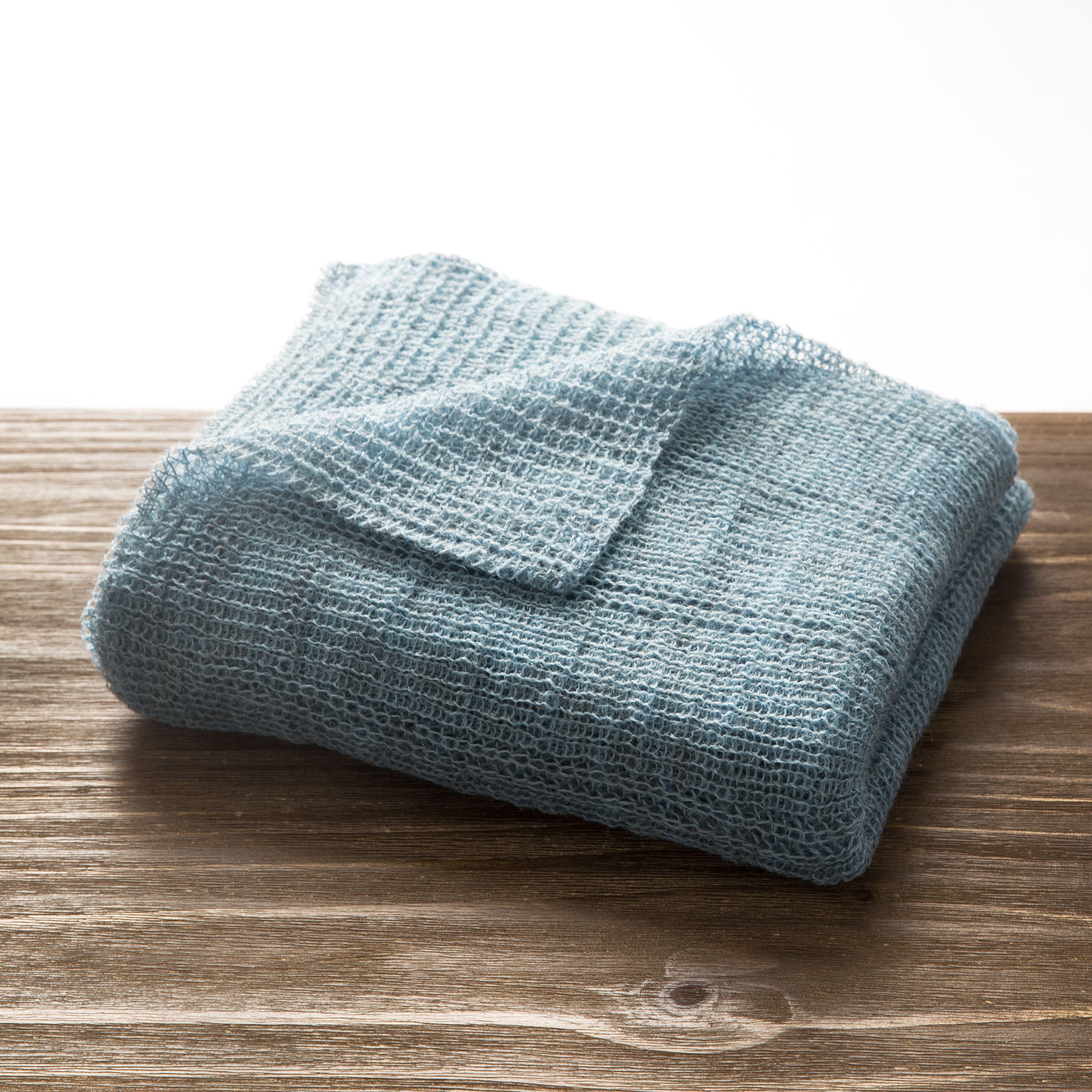 新西兰原产Stansborough指环王灰羊毛针织婴儿车毯盖毯 浅蓝