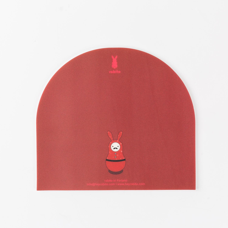 韩国原产rabito卡通鼠标垫办公桌垫防滑鼠标垫 深红