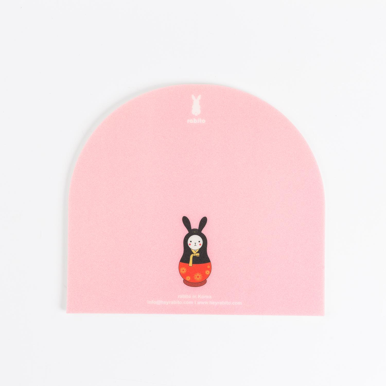 韩国原产rabito卡通鼠标垫办公桌垫防滑鼠标垫 粉红
