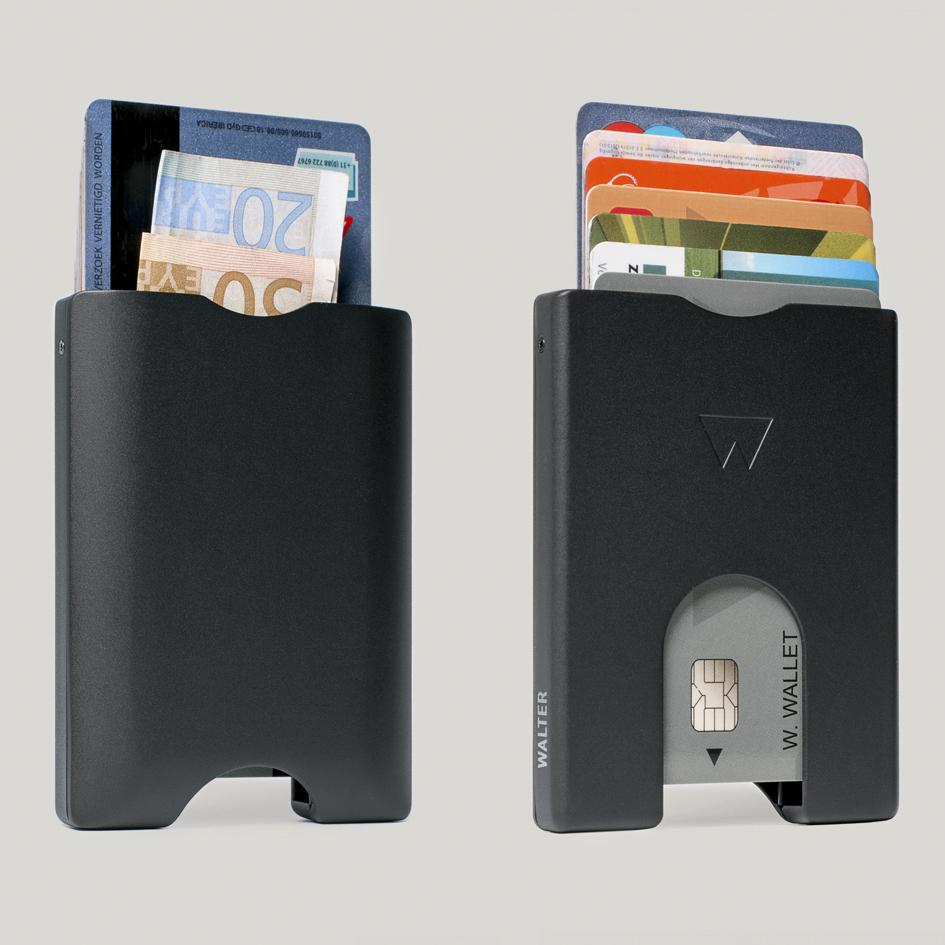荷兰原产WALTER WALLET多卡合一卡包金属卡套卡夹 黑色