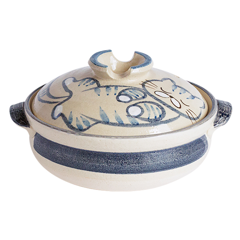 日本原产sajitoki佐治陶器万古烧陶土锅砂锅炖锅汤锅煮锅9号 睡午觉的小猫