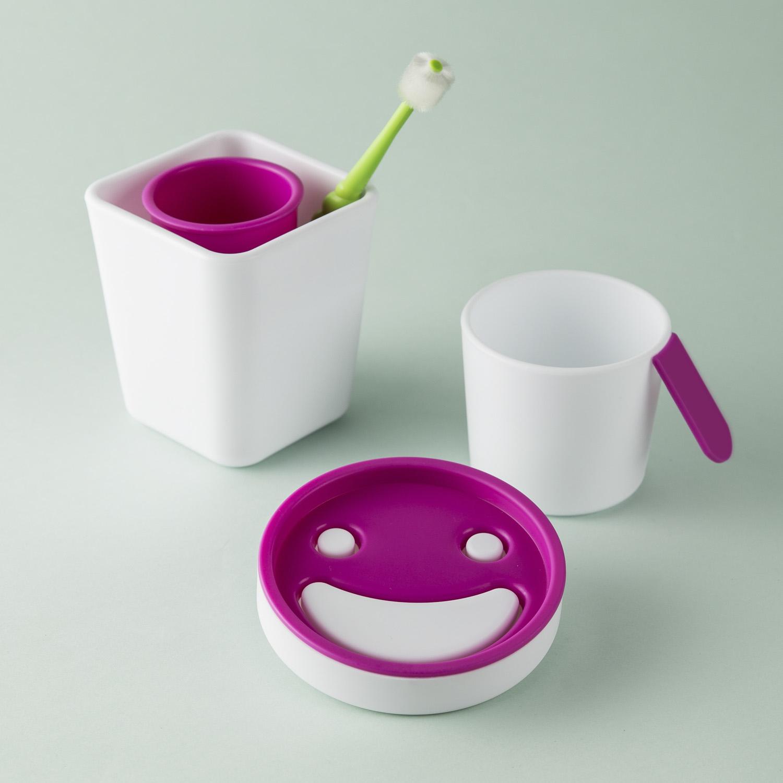 韩国原产zeebe创意洗漱三件套漱口杯肥皂盒牙刷架 浅蓝